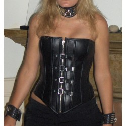 Corset cuir noir 34